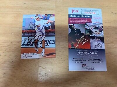Roger Federer Tennis Player Champion Autographed Card JSA Wimbledon