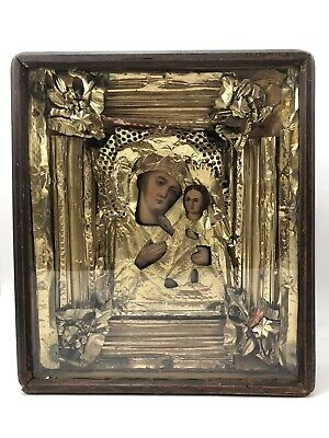 ANTIQUE RUSSIAN ORTHODOX WEDDING ICON Ukrainian OUR LADY OF KAZAN Hand Painted