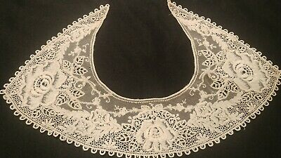 Antique Lace Collar White Handwork Net Lace lovely Floral