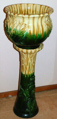 Huge Pottery Jardiniere & Pedestal Stand - Heavily Embossed With Waratahs