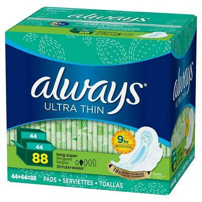 Always Ultra Thin Advanced Long Pads, 88-count NEW Free Shipping