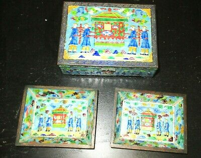 Old Cloisonne Repousse Enamel Chinese Palace Humidor Jar Box & Trays Set