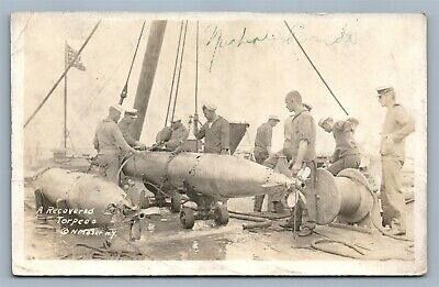 Us Sailors Recovered Torpedo Antique Real Photo Postcard Rppc