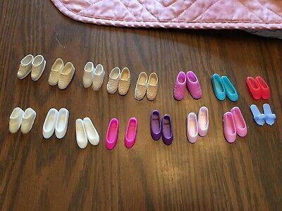 16 pairs of flat Barbie shoes. Slippers, flats, ballet, and tennis shoe