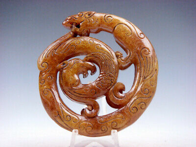 Old Nephrite Jade 2 Sides Carved LARGE Pendant Curly Dragon & Phoenix #12281903
