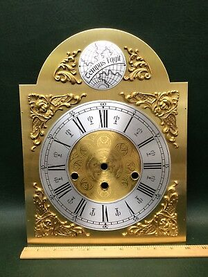 NOS Vtg Tempus Fugit Grandfather Clock Brass Face Dial Holed