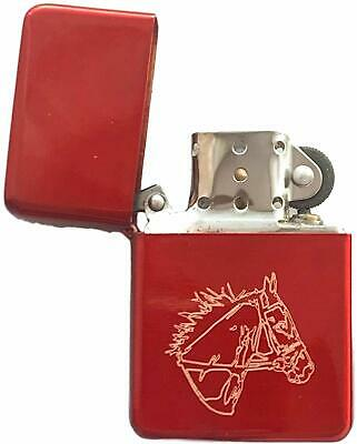 Emblems-Gifts Personalised Horse Head Red Ice Colour Star Petrol Lighter (T5)