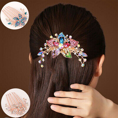 Elegant Inlaid Flower Comb Hair Hot Accessory Women Rhinestone Headwear Hairpin