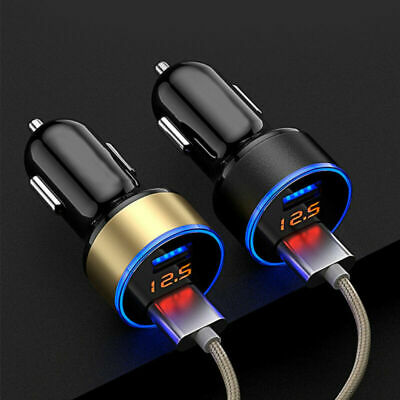 Dual Ports USB Car Cigarette Charger Lighter Digital LED Voltmeter 3.1A 12V/24V