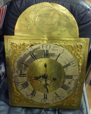 Antique 8 Day 19ins By 14ins Brass Dial Longcase Clock Movement