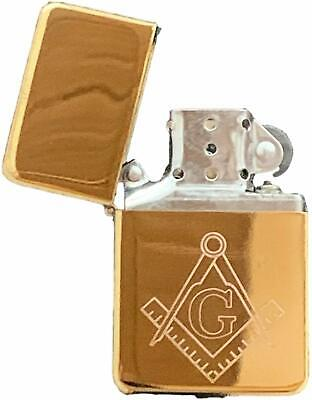 Emblems-Gifts Personalised Masonic Crest & G Gold Petrol Star Lighter (T7)