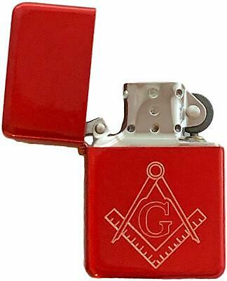 Emblems-Gifts Personalised Masonic Crest & G Red Ice Petrol Star Lighter (T7)