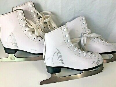 Lake Placid Girls White Ice Skates Blades Lace Up Roller Derby 2 Pair sz 12 & 13
