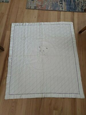 "Vintage Embroidered Teddy Bear Baby Blanket satin trim Nylon Quilted  45"" x 40"""