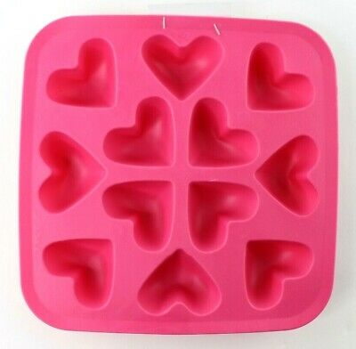 IKEA Silicone Synthetic Rubber Ice Cube Tray Mold Pink Hearts Valentine New