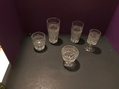 LOT 5pc Anchor Hocking WEXFORD Old Fashioned, Iced Tea, Tumbler, Wine Champagne