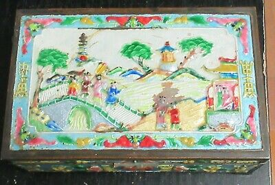Old Cloisonne Repousse Enamel Chinese Temple Town Designed Humidor Jar Box