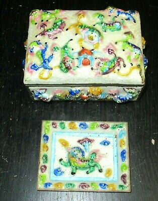 Rare Old Chinese Foo Dogs Repousse Cloisonne Enamel Humidor Box And Tray Set
