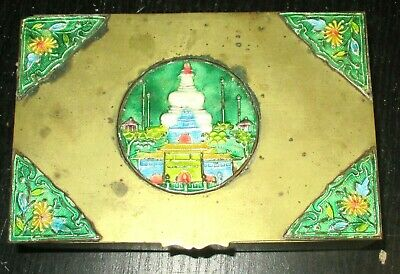 Old Cloisonne Repousse Enamel Chinese Temple Humidor Jar Box