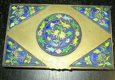 Old Chinese Cloisonne Repousse Blue Enamel Floral Humidor Jar Box