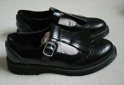 START-RITE Angry Angels MARCH Girls Ladies 100% Leather Black School Shoes 7 UK