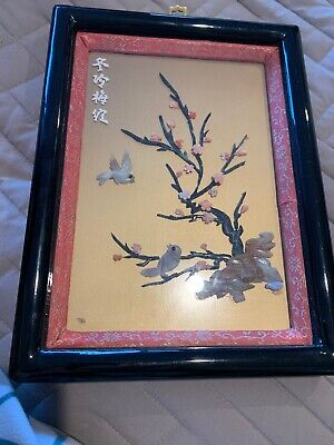 Vintage Asian Coral And Stone Bird Picture Hand Crafted