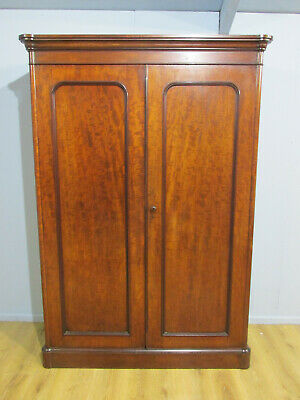 Antique Mid Victorian Fiddle Back Mahogany Two Door Wardrobe Circa 1860