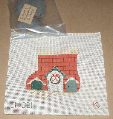 "Kathy Schenkel ""Mouse Houses"" Mini Stocking HP Needlepoint Canvas & Critter"