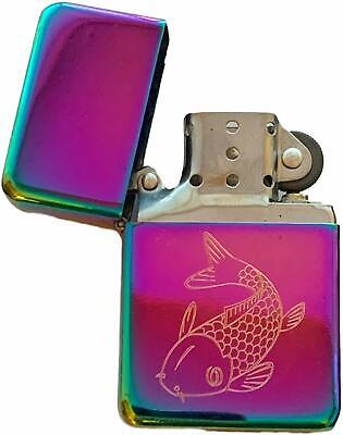 Emblems-Gifts Carp Fish Fishing Rainbow Effect Colour Star Petrol Lighter (T398)