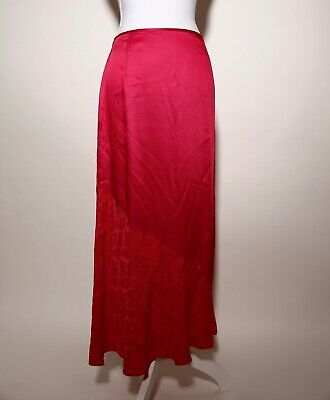 Karen Millen Bright Red Floral Pattern Fit And Flare Long Skirt Size 10 Side Zip