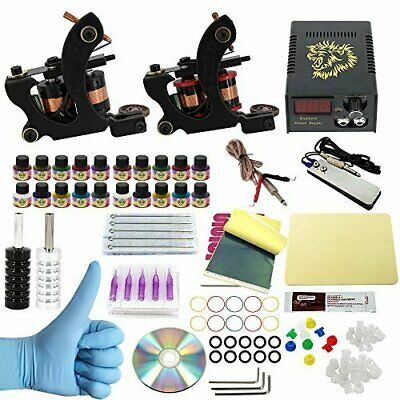 Complete Tattoo Kit Beginners Power Supply 20 Inks 50 Needles Pro Machine Beauty
