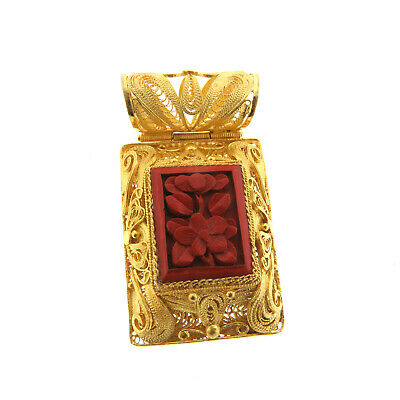 Antique Chinese Carved Cinnabar Gold Filigree Pendant