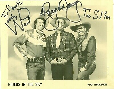Riders In The Sky autographed 8 x 10 B & W publicity photo hand signed by all 3