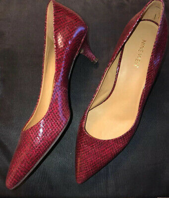 Nine West Womens 9M NWILLUMIE Slip On Pointed Toe Pumps Red Snakeskin NEW