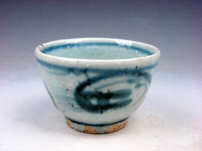 Antique Blue&White Glazed Porcelain Dragon Pattern Hand Painted Cup #12151901