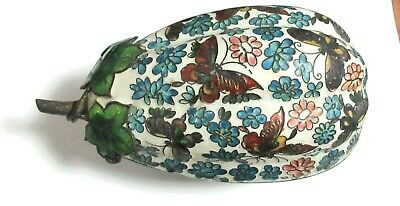 Old Chinese Fruit Butterfly Design Cloisonne Repousse White Enamel Bowl Box