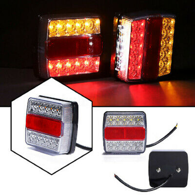 2X 16 Led Trailer Lights Light Tail Stop Indicator Submersible Truck Lamp Kit +