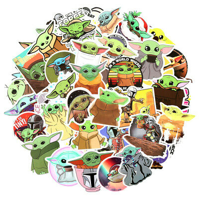 50PCS Baby Yoda Stickers Decals Pack for Laptop Water Bottle Luggage Skateboard