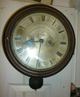 Rare Antique Double Chain Fusee 9ins Silvered Dial Wall Clock For Restoration