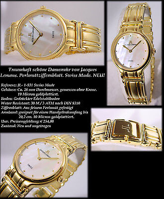 Premium Women's Watch Swiss Made Jacques Lemans 10 Micron Gold Edition 26 MM