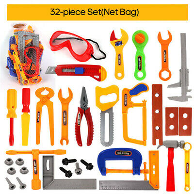 Kids Play Pretend Toy Tool Set Workbench Construction Workshop Toolbox Tool O8Z1