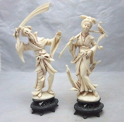 Pair of vintage molded plastic Asian man, woman figurines. Made in Italy
