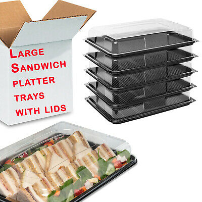 10X Large Plastic Platter Serving Trays  With Lids Food Sandwich Party Catering