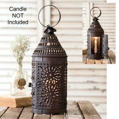 New Primitive Colonial Punched Tin REVERE TAPER CANDLE HOLDER LANTERN Hanging