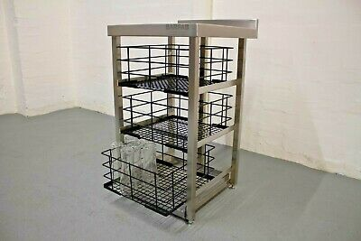 Three Tier Stainless Steel 400x400 Glasswash Basket Storage For Modular Bar