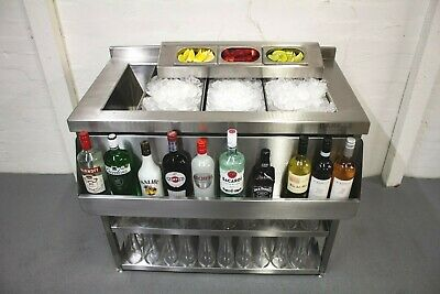 Stainless Cocktail Ice Well Station,  Fully Insulated With Stand & Speedrail