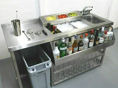 Modular Cocktail Station, Insulated Ice Well & Bar Sink With Hygenic Bin Void