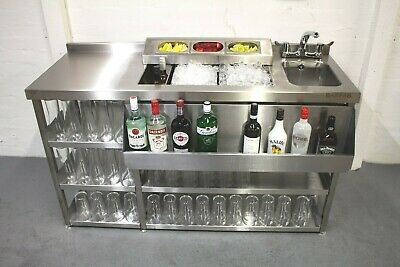 Modular Cocktail Station, Insulated Ice Well & Bar Sink With Shelving