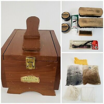 Vintage Griffin Shinemaster Shoe Shine Wood Box with Accessories