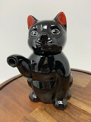 Vintage Ceramic Black Cat With Red Ears Creamer Pitcher